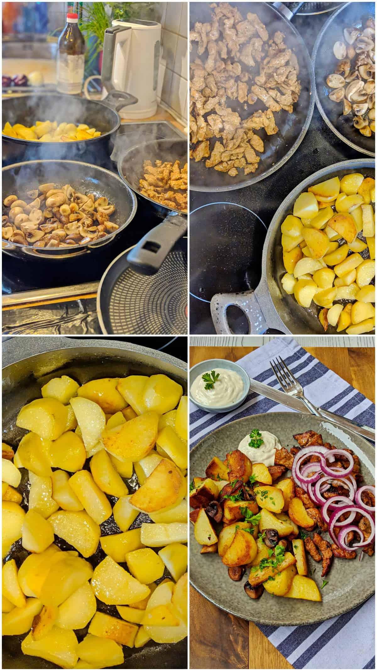 Eine Collage der Zubereitungsschritte von Bratkartoffeln mit Gyros.
