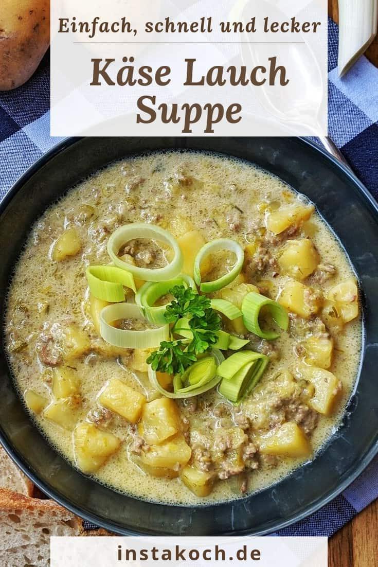 Einen Teller Käse-Lauch Suppe