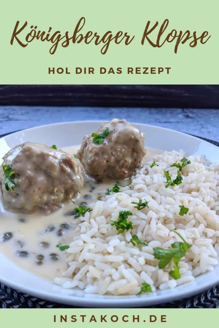 Königesberger Kopse mit Reis auf einem Teller