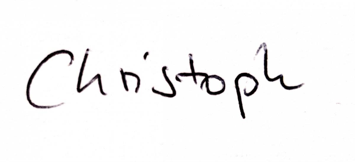 Eine Unterschrift von Christoph.