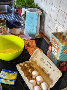 Die Zutaten für die Pancakes.