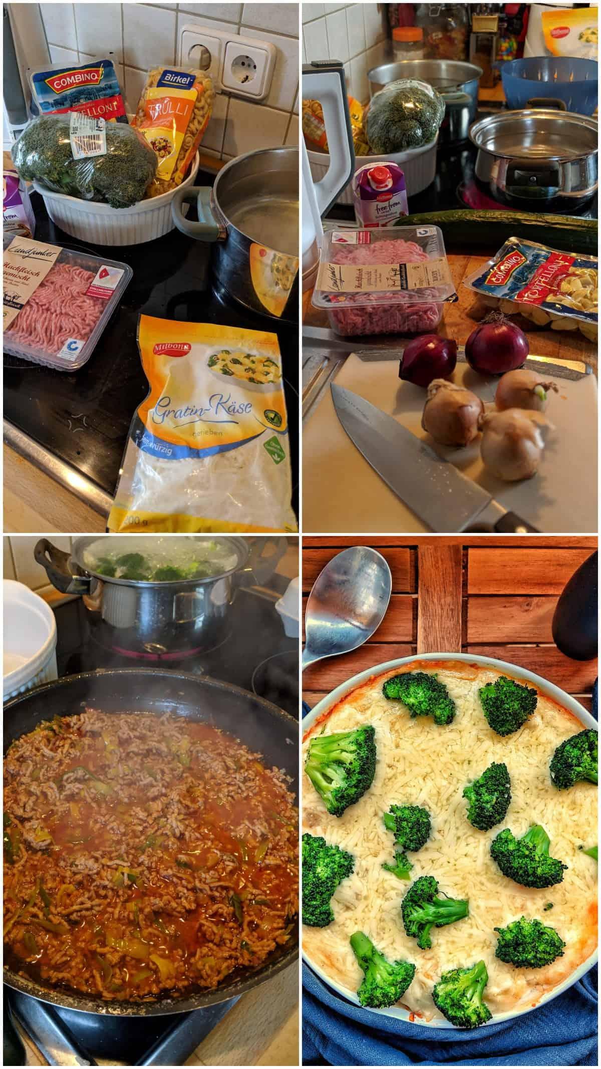 Eine Collage der Zubereitungsschritte für Brokkoli-Nudel-Auflauf mit Hackfleisch.