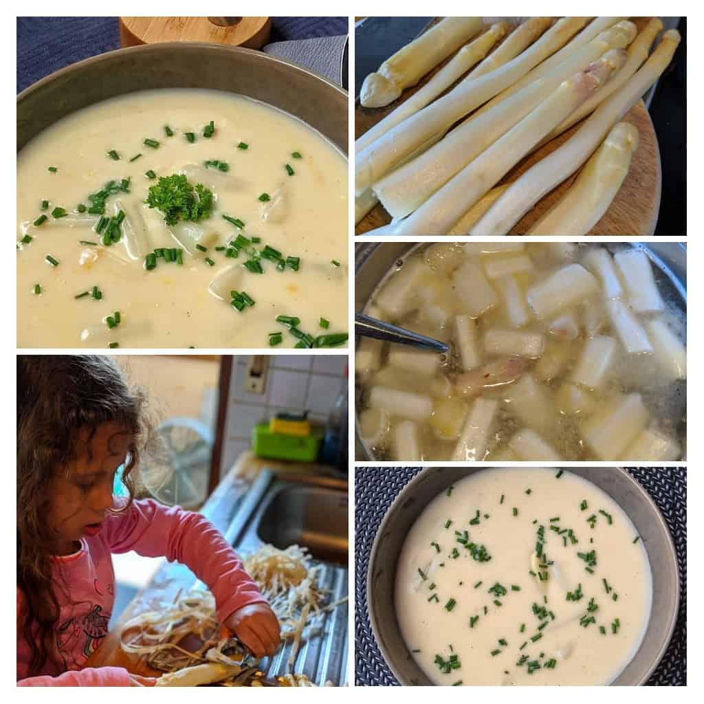 Ein Collage von Fotos zur Zubereitung von Spargelcremesuppe.