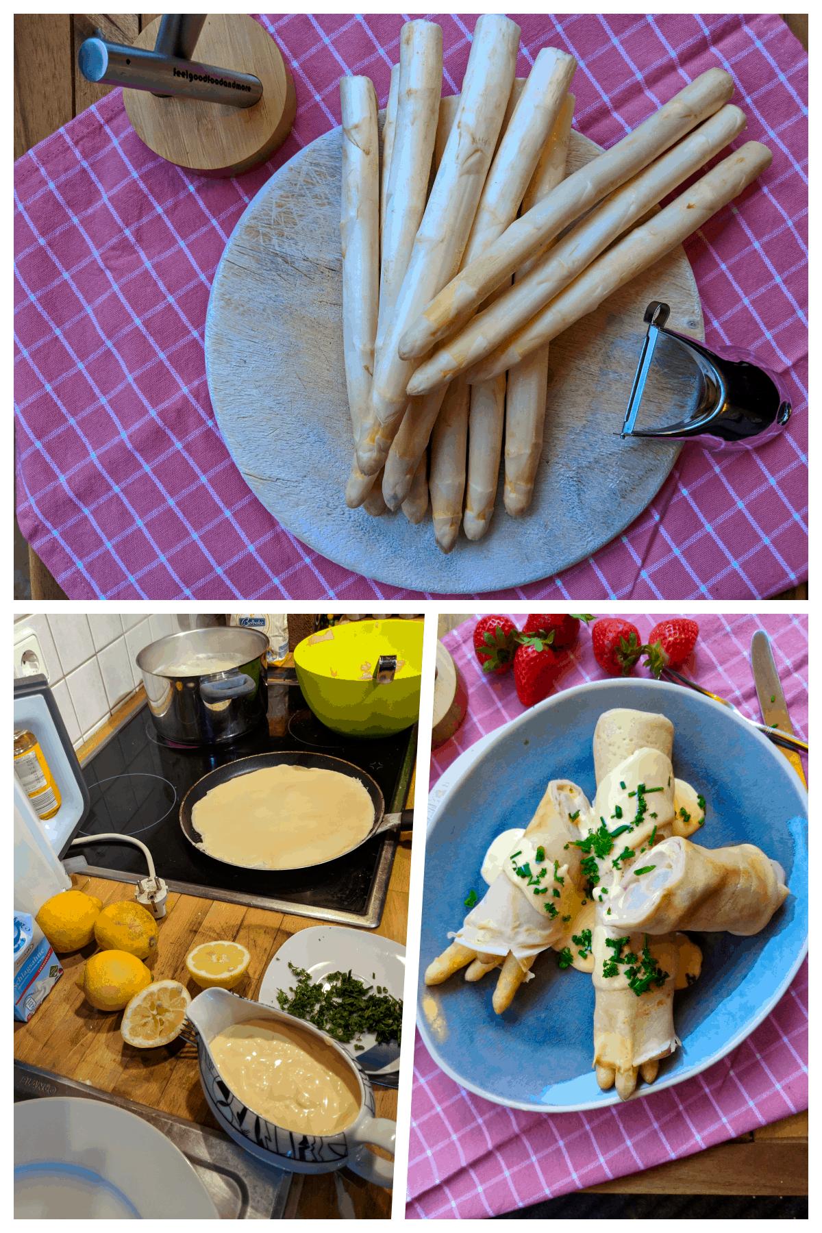 Eine Collage der Zubereitung der gefüllten Pfannkuchen.