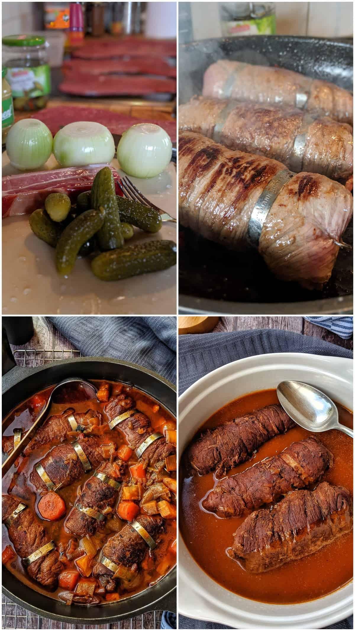 Eine Collage von 4 Fotos, die die Zubereitung der Rinderrouladen zeigt.