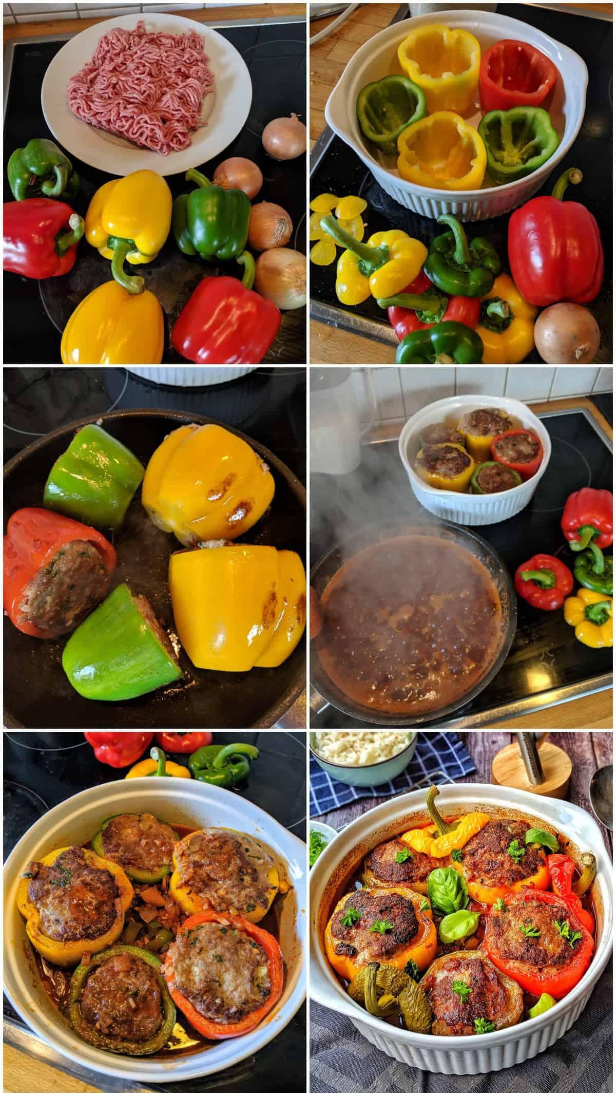 Eine Collage der Zubereitungsschritte von gefüllten Paprika mir Reis.