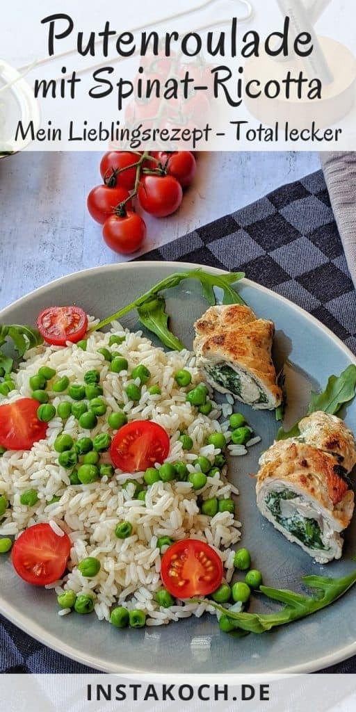Ein Teller mit Putenroulade mit Spinat Ricottafüllung auf Reis mit Erbsen und Tomaten