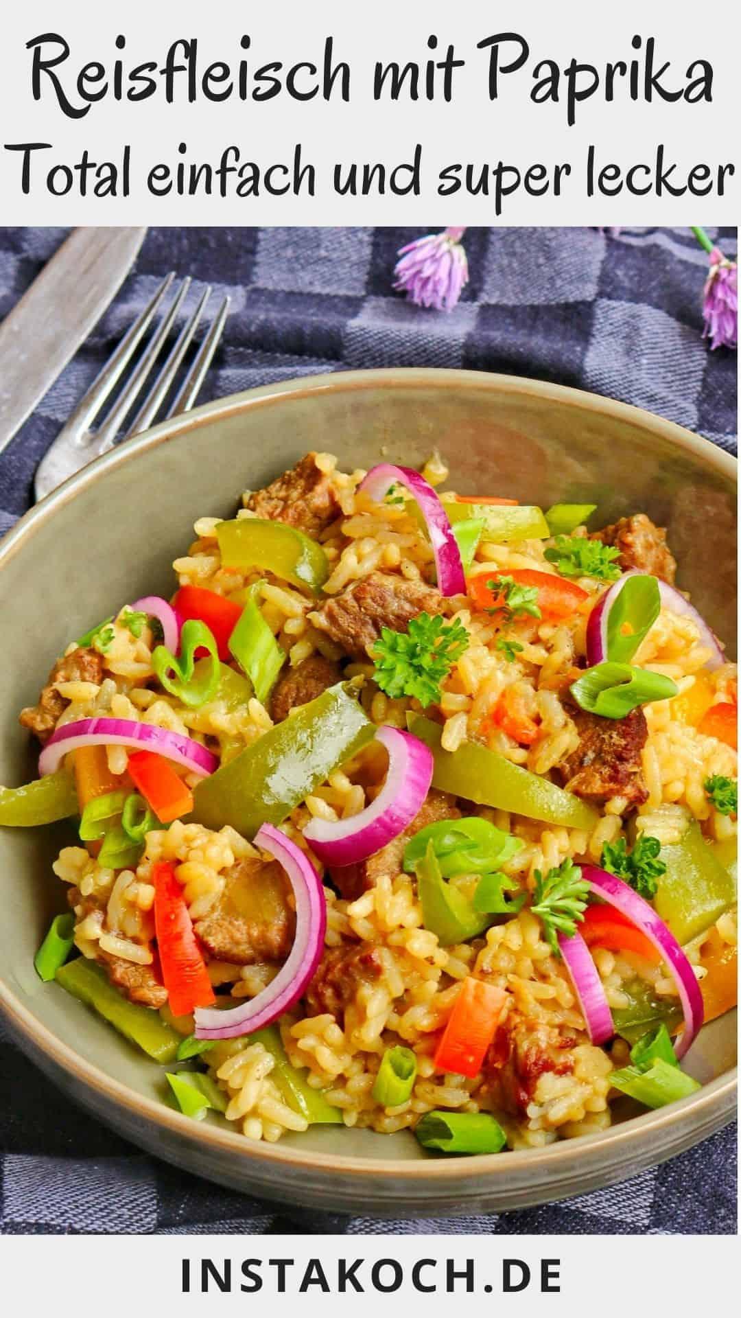 Ein tiefer Teller mit Reisfleisch. Im Hintergrund Deko.