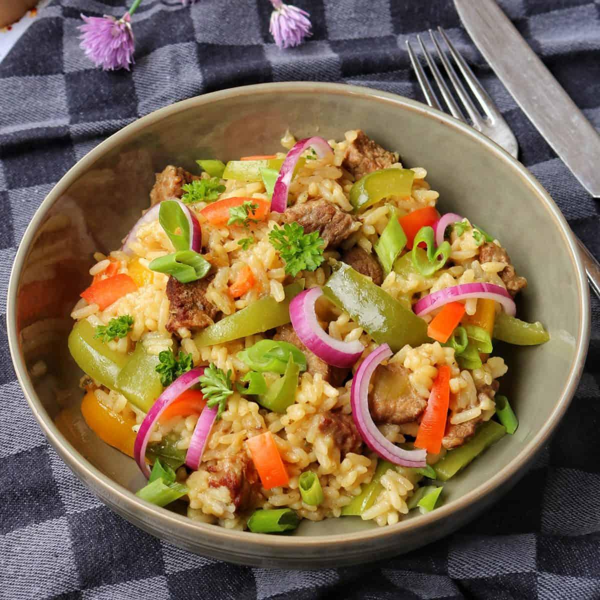 Ein tiefer Teller mit Reisfleisch. Im Hintergrund Deko