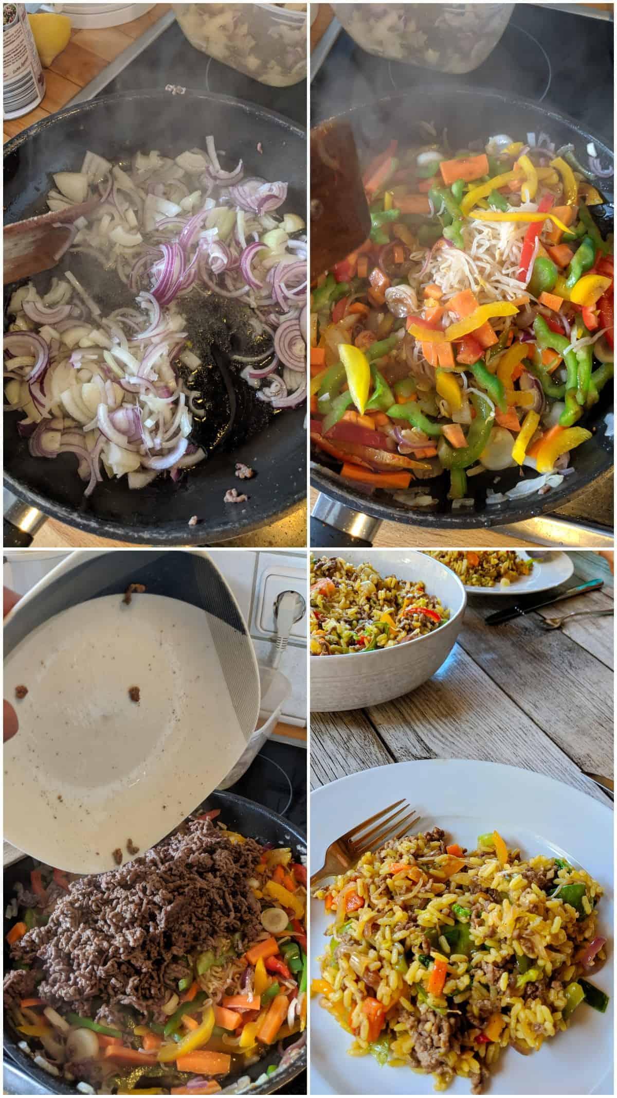 Eine Collage der Zubereitungsschritte der Asia Reispfanne mit Gemüse und Rinderhack.