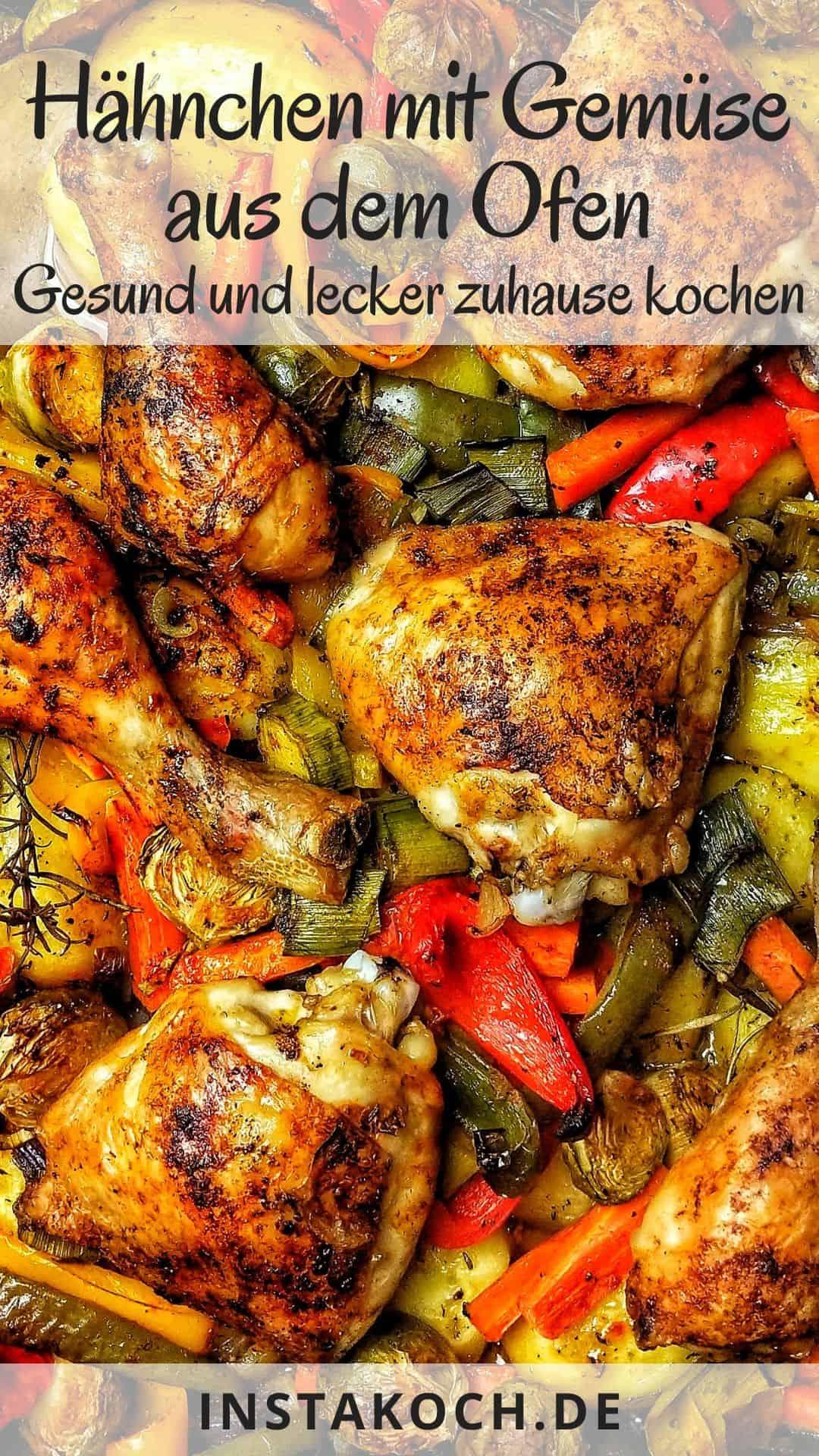 Im Ofen gebackenes Hähnchen mit Gemüse und Kartoffeln