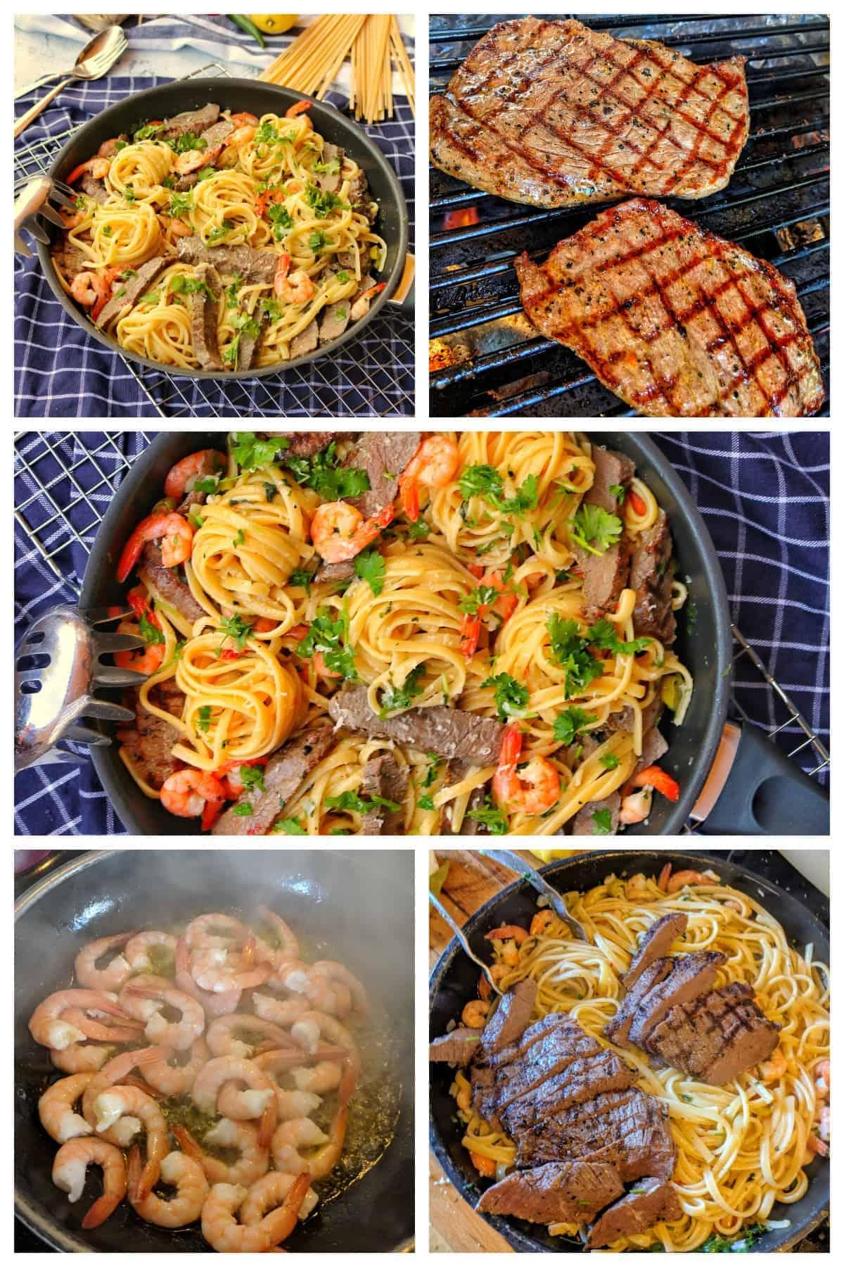 Eine Collage von der Zubereitung von Spaghetti Aglio Olio Surf and Turf.