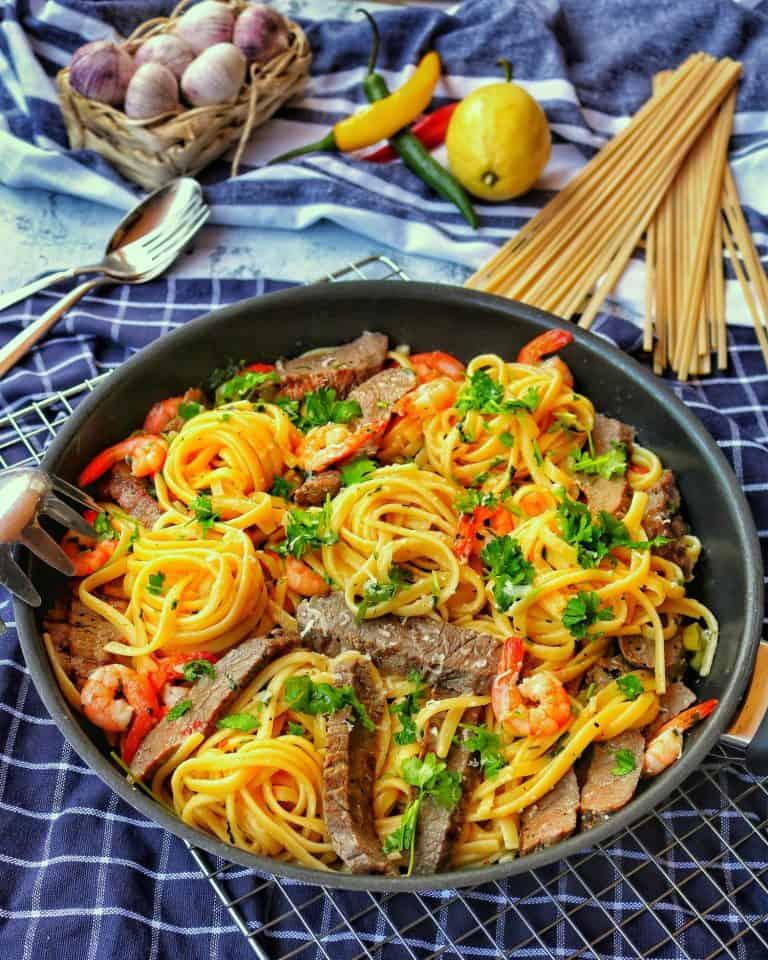 Spaghetti Aglio Olio Surf and Turf