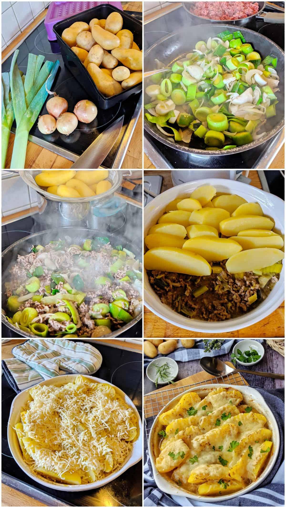 Eine Collage der Zubereitungsschritte von Collage gebackenen Kartoffeln mit Lauch und Hack.
