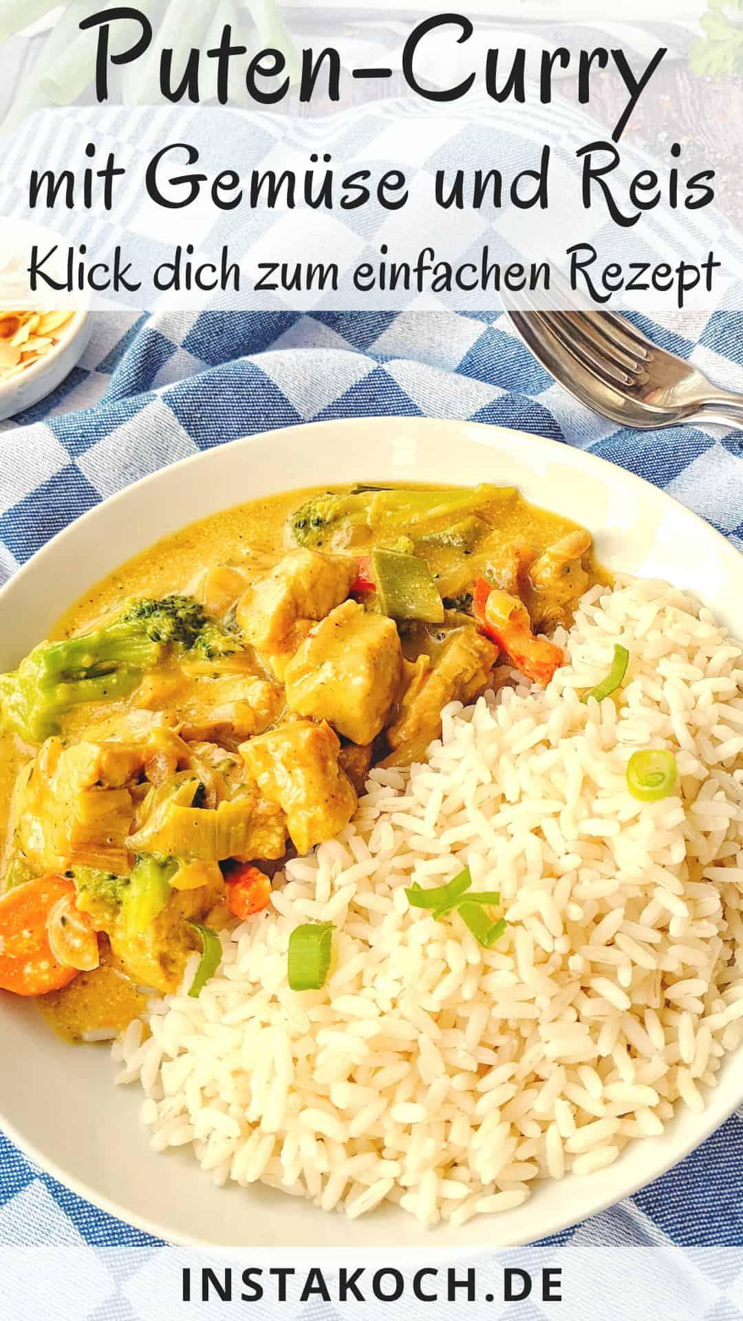 Ein Teller Putencurry mit Brokkoli Mandeln und Reis