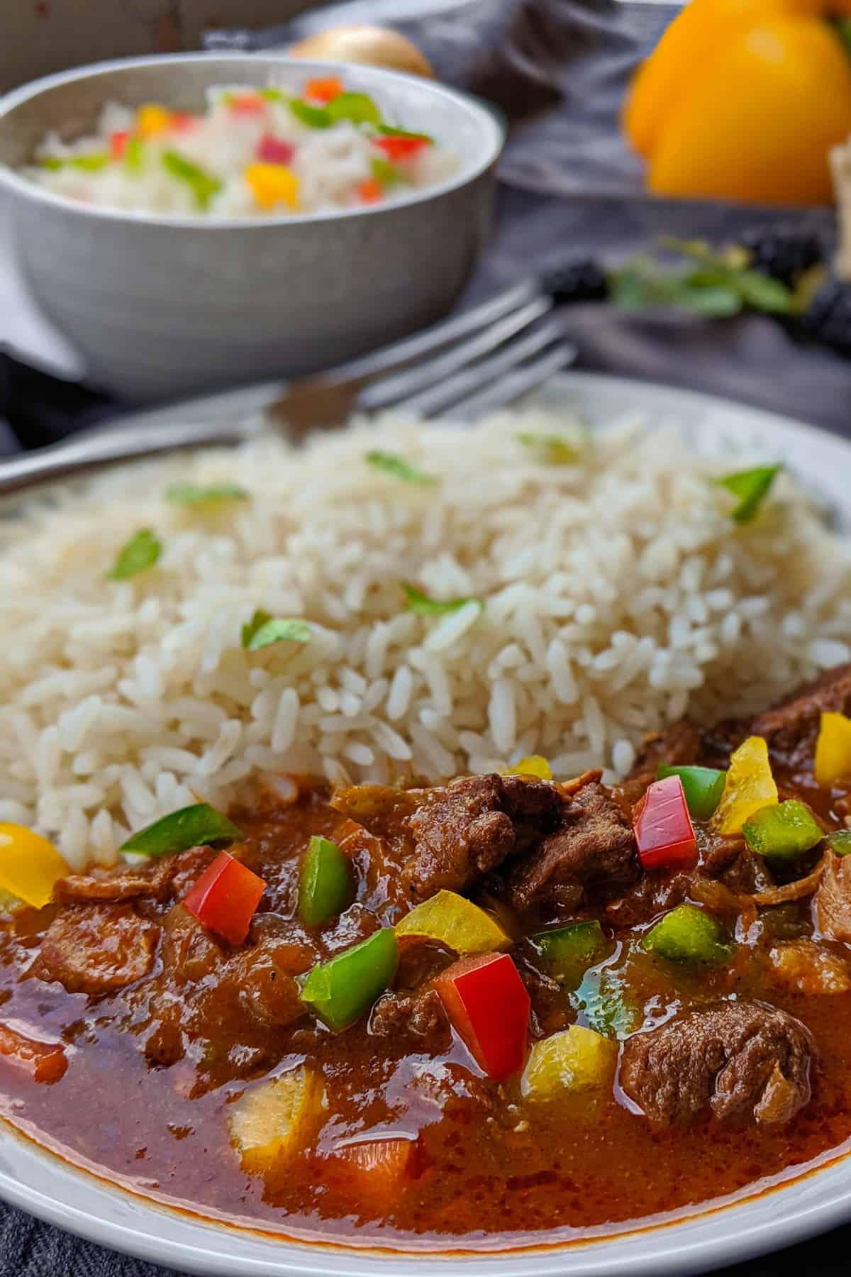 Ein weisser Teller mit Rindergulasch und Reis. im Hintergrund ein Schälchen mit Reis und Deko.