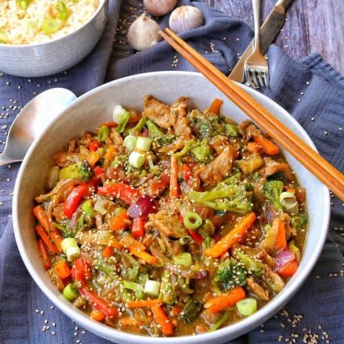 Asia Pfanne mit Reis