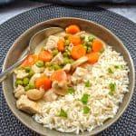 Ein Teller Putenfrikassee mit Reis