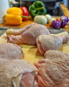 Huhn und Gemüse Vorbereitungen