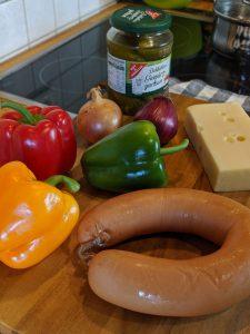 Zutaten für den Wurstsalat