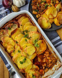 Bohnen-Rindfleisch Auflauf mit Kartoffeln