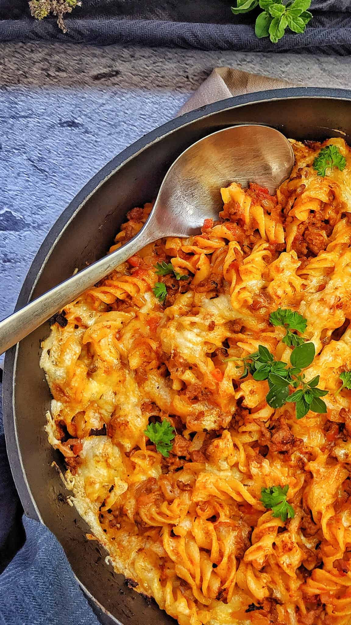 A pan with pasta, minced meat casserole.