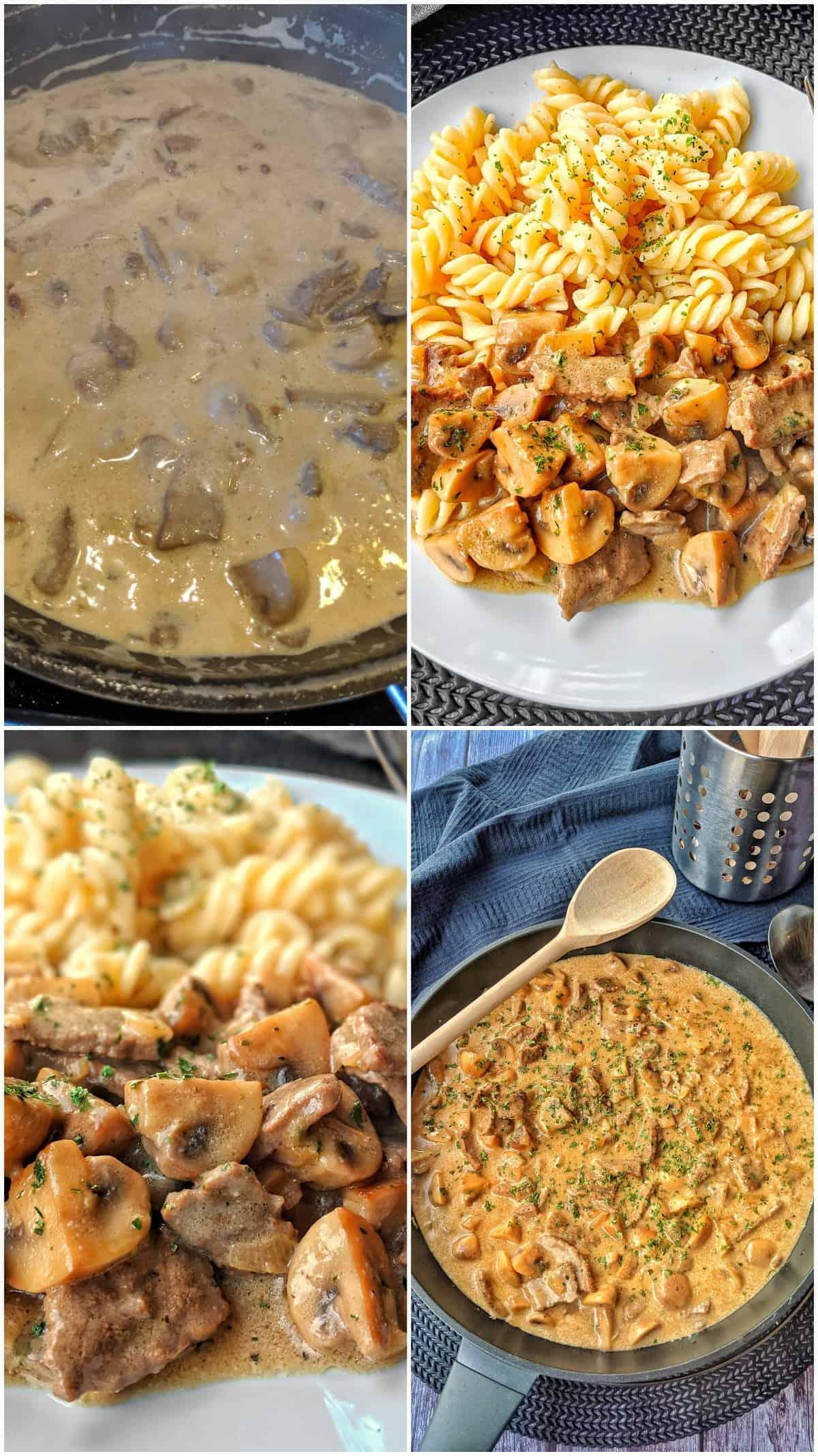 Eine Collage der Zubereitungsschritte von Rindergeschnetzeltem in Pilzrahmsoße.