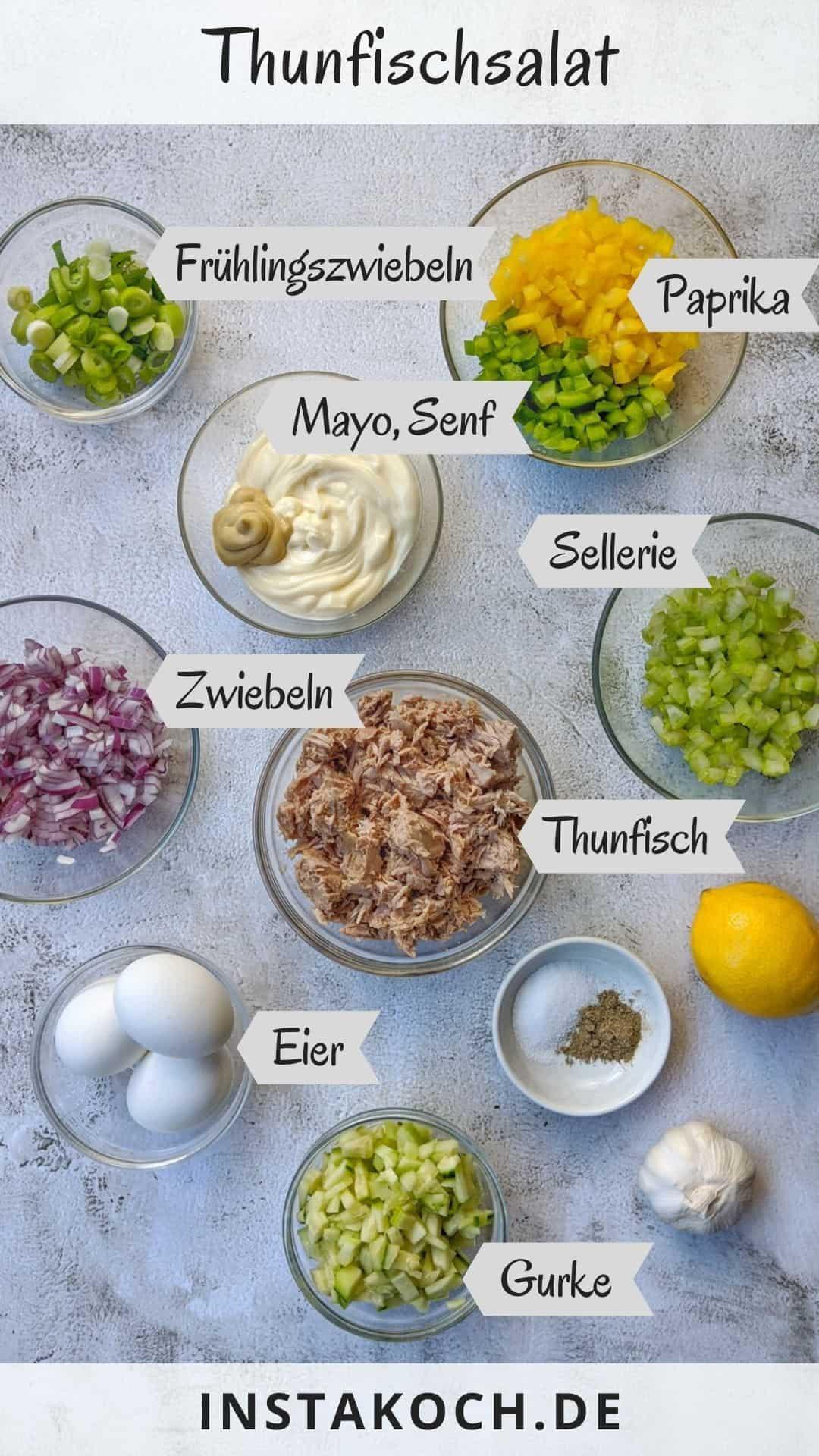 Zutaten für einen Thunfischsalat mit Beschriftung.