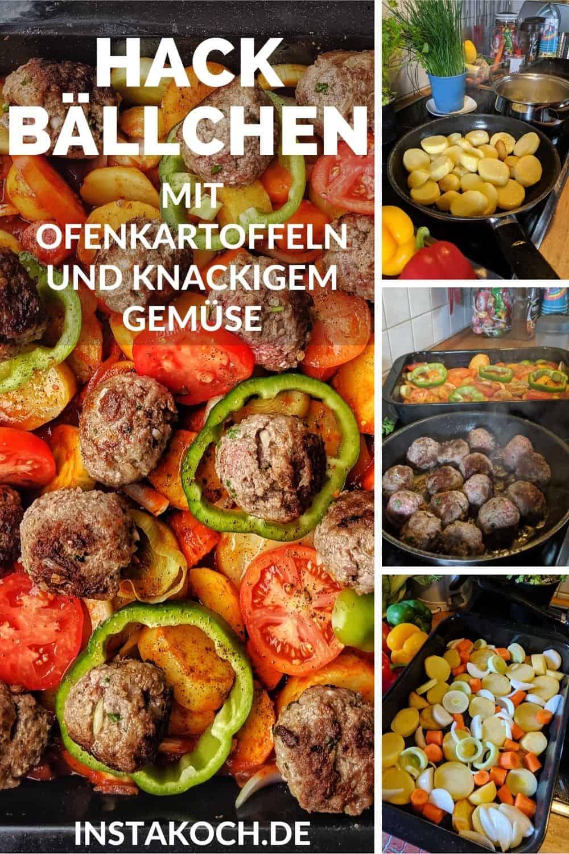 Eine Collage der Zubereitungsschritte für gebackene Kartoffeln in Tomatensoße mit Hackbällchen und Gemüse