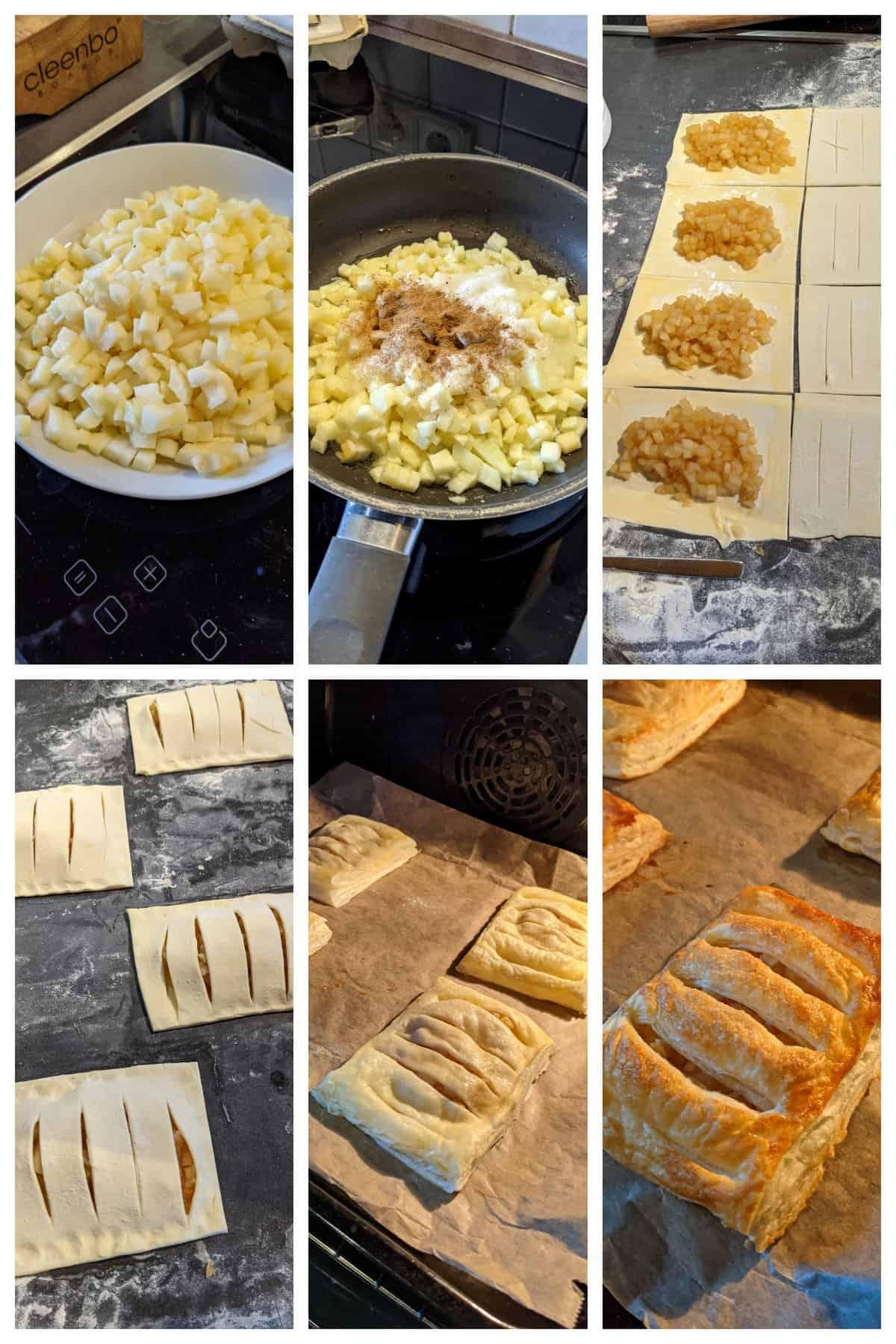 Collage der Zubereitungsschritte für Apfeltaschen mit Blätterteig.